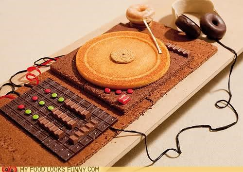 art cake chocolate deck dj donuts headphones Music turntable