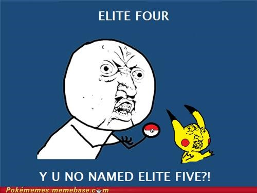 elite four,pikahu,Rage Comics,Y U NO