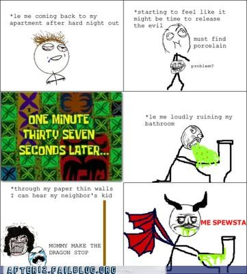 child,dragon,Rage Comics,vomit