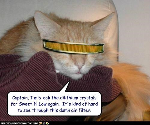 air filter,caption,captioned,cat,Cats,costume,dilithium crystals,Star Trek,sweet n low