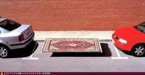 aladdin,cars,parked,rug,wtf