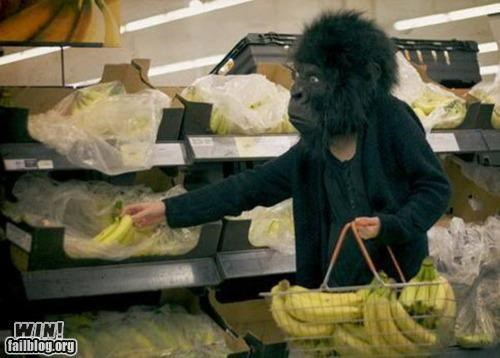 bananas,food,fruit,gorillas,grocery store,masks,shopping