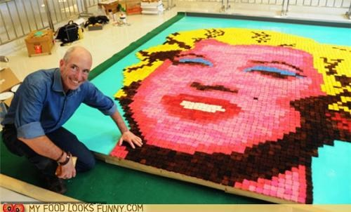 art,bread,marilyn monroe,mosaic,toast