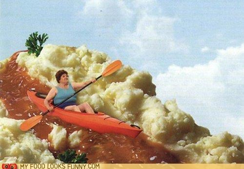 gravy,kayak,mashed potatoes,river,sky,woman