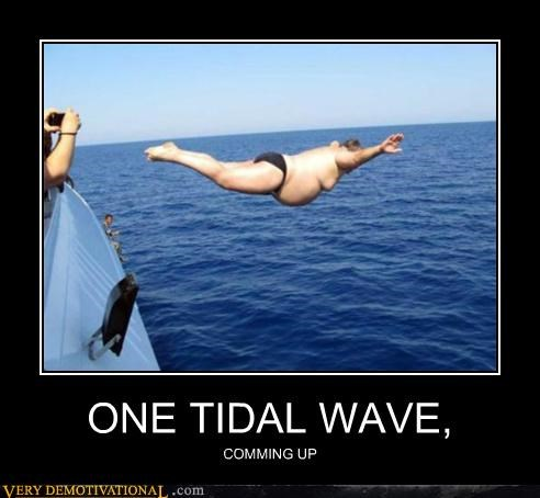 belly flop coming up fat guy ocean Pure Awesome tidal wave wtf - 5002103808