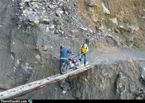 bridge,motorcycle,safety first,wtf