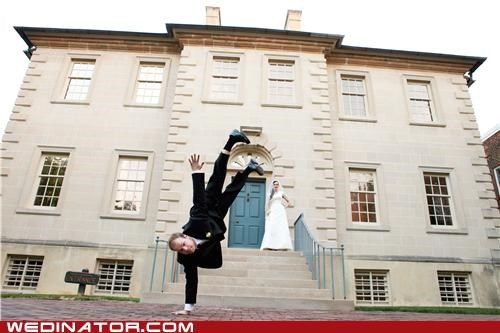 bride funny wedding photos groom hand stand - 5002542592