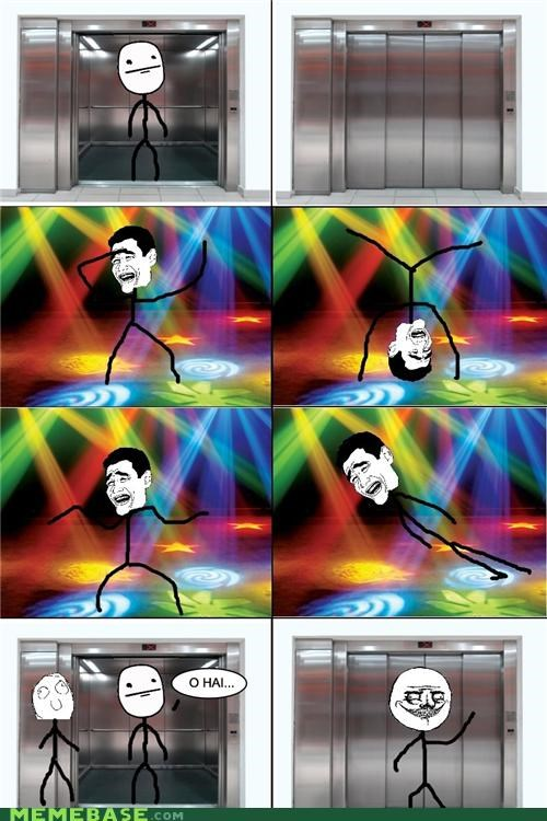 dance,elevator,lights,Party,poker face,Rage Comics