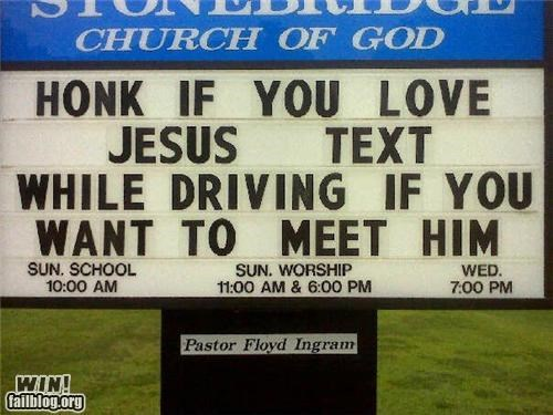church driving sign texting - 5004864512