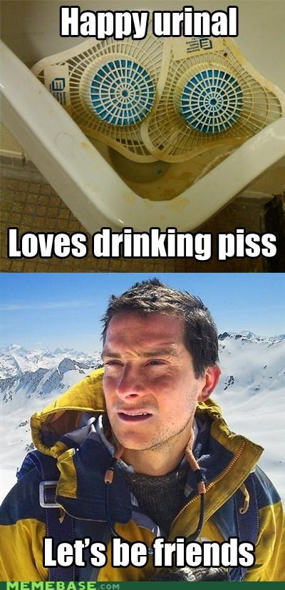 bear grylls,fox,happy,hound,pee,Reframe,urinal