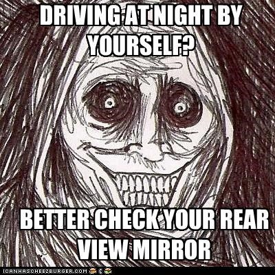 driving,ducking,mirror,night,seat,serifs,The Shadowlurker
