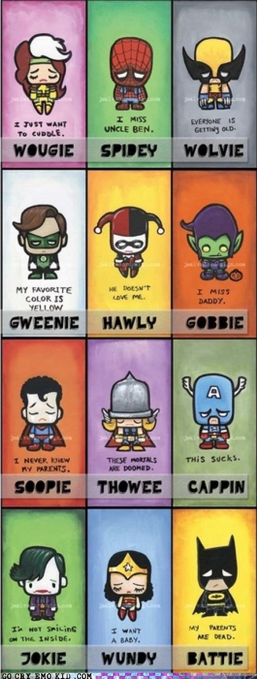 emo emolulz Harley Quinn Spider-Man superheroes wolverine - 5005914368