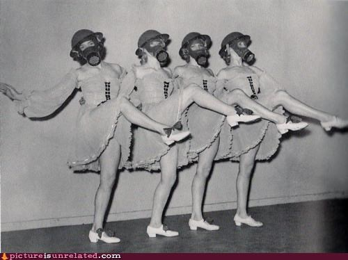 dancers,gas mask,legs,old timey,wtf