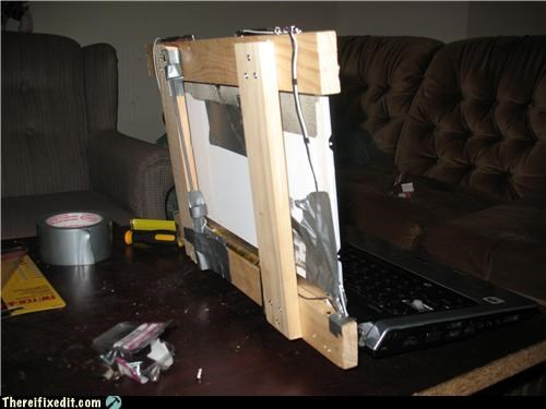 2x4,computer repair,duct tape,laptop