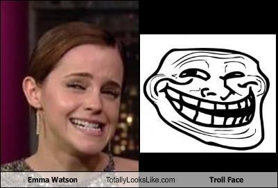actress,actresses,emma watson,Harry Potter,Memes,smiling,troll face