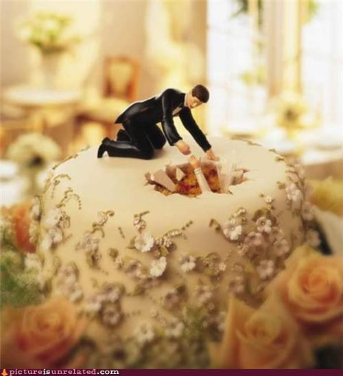 bride falling groom wedding cake wtf - 5007608832