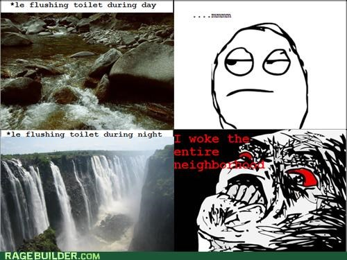 day and night,flushing,loud,noise,peetimes,Rage Comics