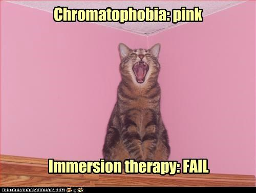 afraid caption captioned cat chromatophobia do not want FAIL immersion pink therapy - 5011480832