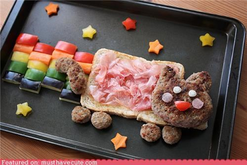bread,burger,epicute,ginger,meat,Nyan Cat,rainbow,stars,veggies
