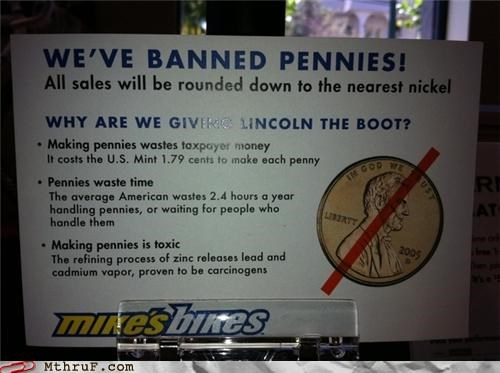 banned bikes lincoln penny sign