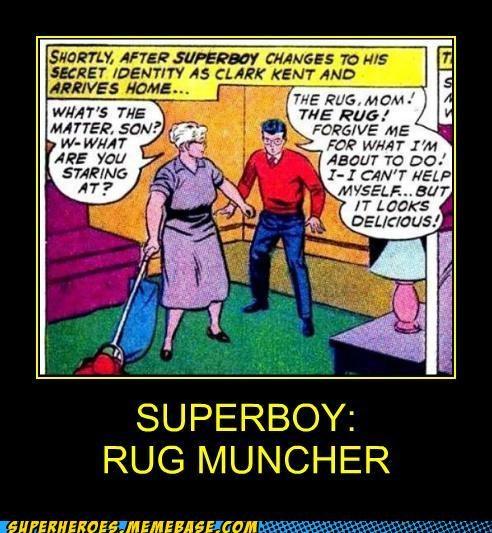 munching,rug,superboy,Super-Lols,superman