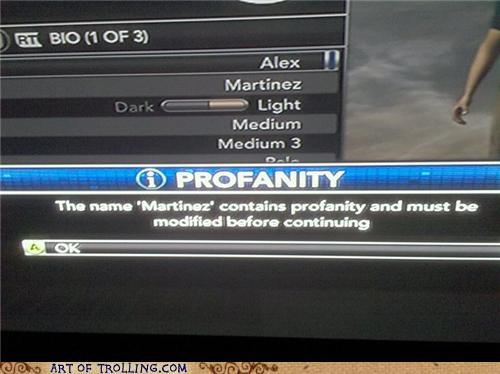 game martinez name profanity xbox - 5012455168