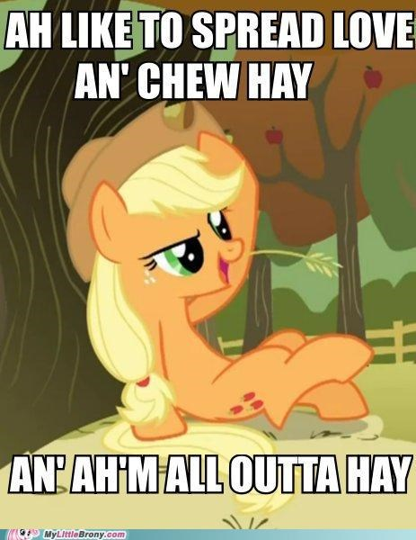 aj,applejack,hay,love,spread