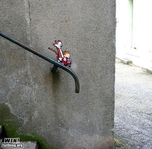 calvin and hobbes,graffiti,hacked irl