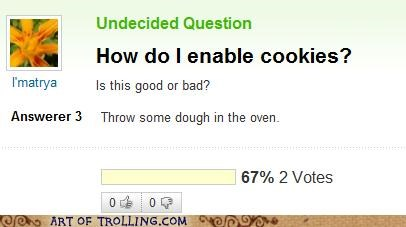 cookies,internet,not those cookies,oven,technologically impaired,Yahoo Answer Fails