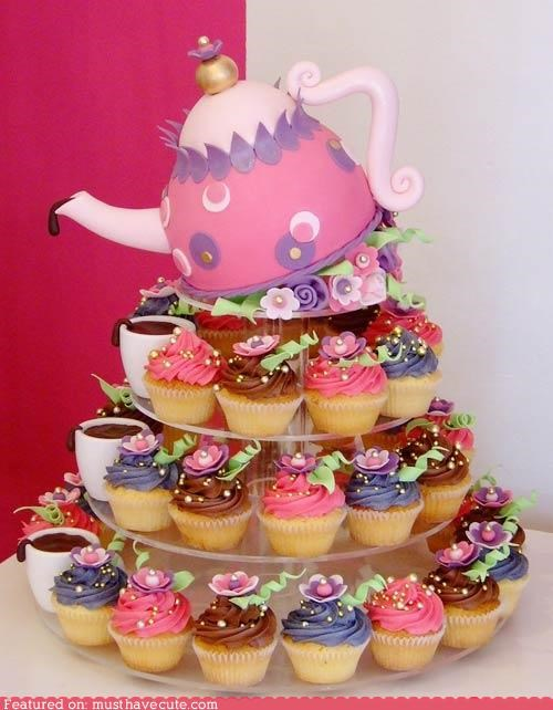 cake,cupcakes,epicute,flowers,teacups,teapot,tower