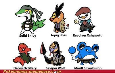 crossover,gen V starters,metal gear solid,Pokémans,solid snake