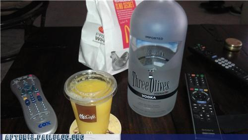 breakfast,McDonald's,orange juice,vodka