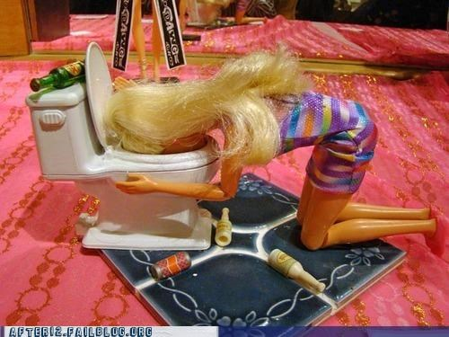 Barbie barfing big night toilet