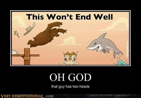 bear,comic,hilarious,shark,two heads