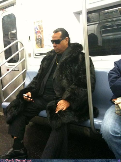 fur coat,pimp,Subway