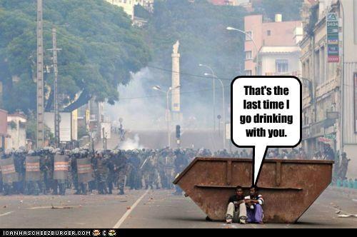 alcohol drinking hangover hiding Pundit Kitchen riot gear riots - 5013964032