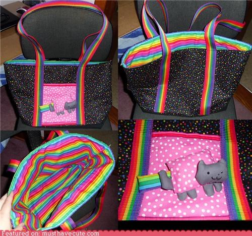 Nyan Cat polka dots rainbows tote bag