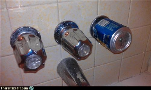 bathroom kludge beer can plumbing