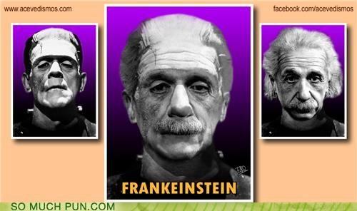 albert einstein,einstein,frankenstein,juxtaposition,literalism,mashup