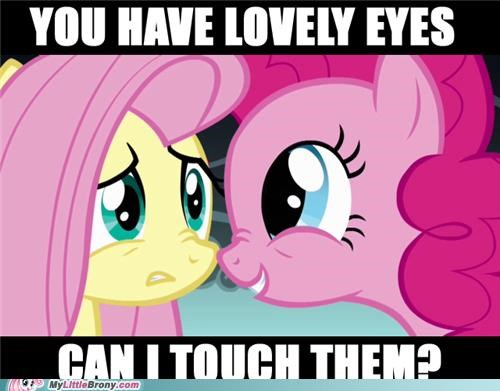 eyes,fluttershy,pinkie pie,touch
