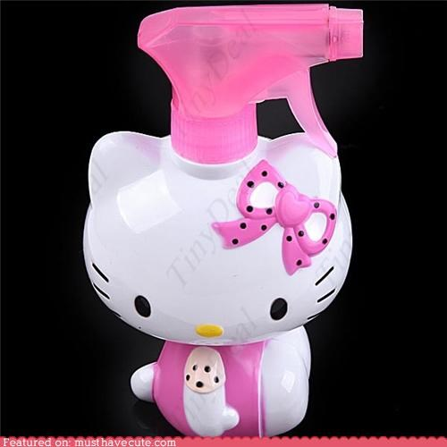 hello kitty,pink,spray bottle,water