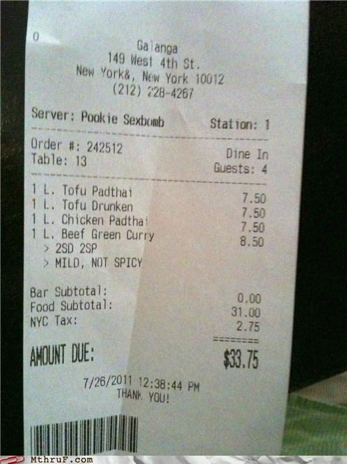 receipt restaurant server sexbomb