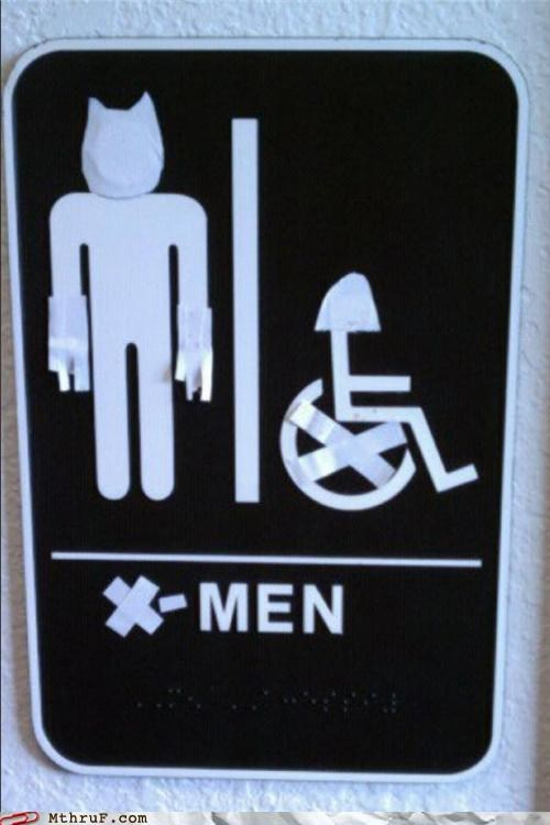 bathroom restroom sign x men