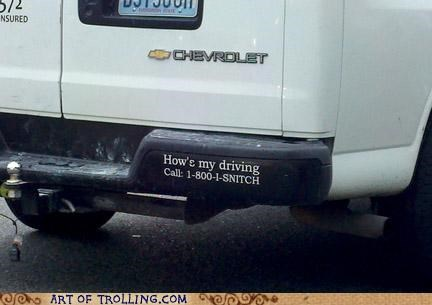 awesome bumper sticker driving IRL snitch - 5016172544