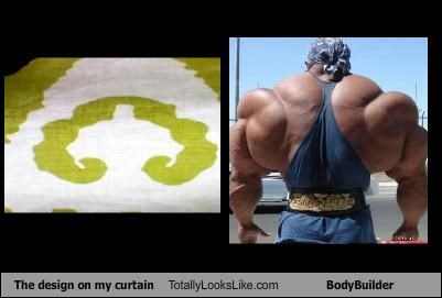 bodybuilder curtain design green muscles
