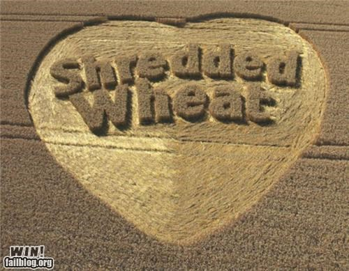 advertisement,crop circle,farm,farming,shredded,wheat