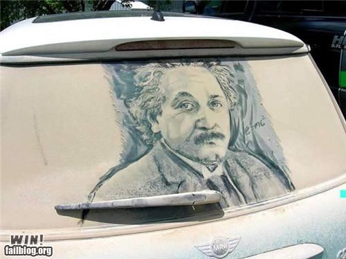 einstein,trash to treasure,window art