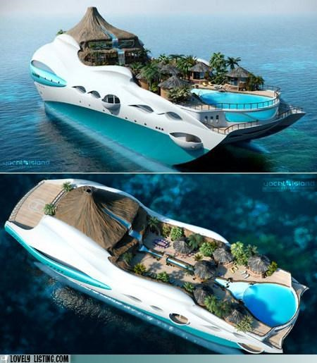 island,volcano,yacht
