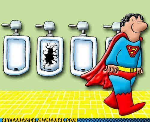 Awesome Art,broken,superman,urinal,urination