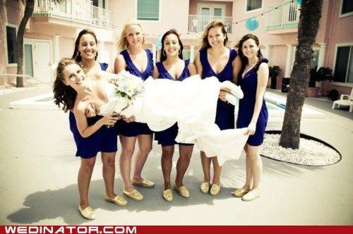 bride bridesmaids carry bride funny wedding photos - 5017182720